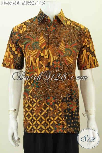 Hemm Batik Mewah Harga Murah, Pakaian Batik Lengan Pendek Klasik Halus Proses Kombinasi Tulis Hanya 140 Ribuan [LD7648BT-M]