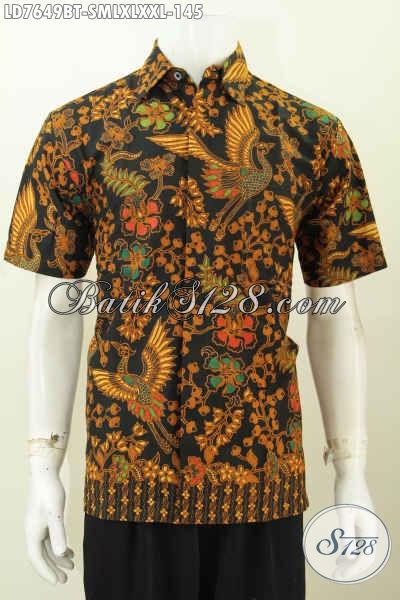 Jual Online Aneka Pakaian Batik Jawa Lengan Pendek, Hem Batik Elegan Halus Proses Kombinasi Tulis Menujang Penampilan Lebih Istimewa [LD7649BT-S]