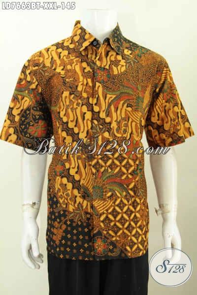 Pusat Baju Batik Solo Online, Jual Kemeja Lengan Pendek Ukuran Jumbo Motif Klasik Untuk Pria Gemuk [LD7663BT-XXL]