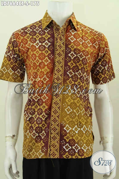 Hem Batik Keren Gaul Buat Pria Muda, Kemeja Batik Solo Cap Tulis Motif Bagus Pas Buat Jalan-Jalan [LD7664CT-S]