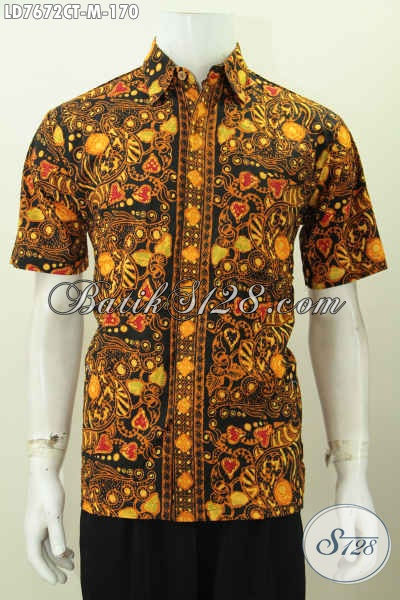 Busana Batik Pria Muda, Pakaian Batik Modis Halus Proses Cap Tulis, Toko Online Baju Batik Cowok Pilihan Komplit [LD7672CT-M]