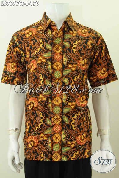Pakaian Batik Modern Trend Mode Terkini, Hem Batik Jawa Halus Proses Cap Tulis Kwalitas Istimewa Pria Terlihat Gagah Mempesona [LD7679CT-L]