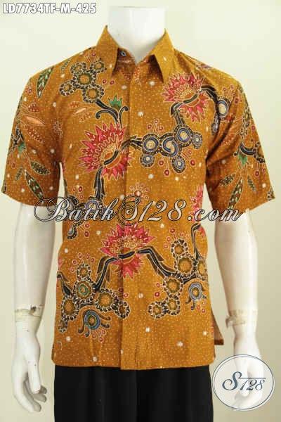 Hem Batik Premium Lengan Pendek, Baju Batik Istimewa Motif Mewah Proses Tulis Daleman Full Furing [LD7734TF-M]