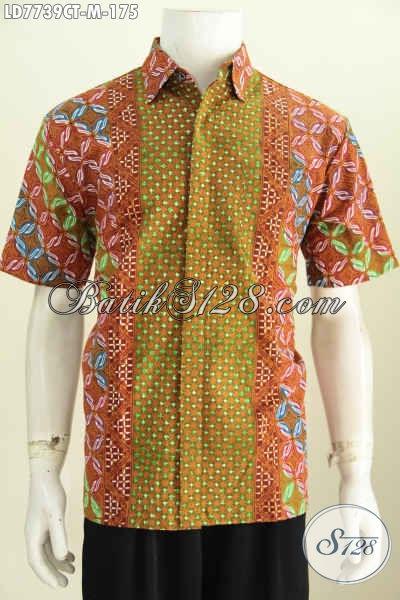 Hem Batik Modis Motif Kombinasi, Pakaian Batik Jawa Tengah Proses Cap Tulis Bahan Halus Yang Nyaman Di Pakai Sehari-Hari [LD7739CT-M]