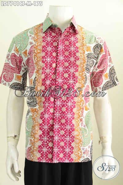 Hem Batik Modis Lengan Pendek, Baju Batik Solo Halus Proses Cap Tulis Buatan Solo Bikin Pria Terlihat Mempesona [LD7741CT-M]