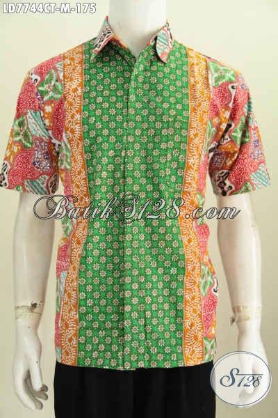Toko Batik Jawa Istimewa, Pakaian Batik Modern Lengan Pendek Halus Kwalitas Istimewa Bikin Penampilan Beda Dan Gaya [LD7744CT-M]