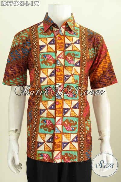 Baju Hem Lengan Pendek Bahan Batik Cap Tulis Asli Solo, Pakaian Batik Halus Motif Kombinasi Untuk Tampil Keren Berkarakter [LD7749CT-L]
