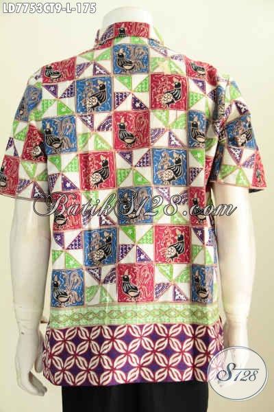 Batik Hem Istimewa Buatan Solo Asli, Kemeja Batik Lengan Pendek Seragam Kerja Motif Terkini Proses Cap Tulis [LD7753CT-L]