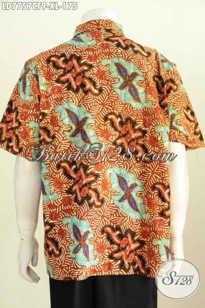 Baju Batik Hem Masa Kini Spesial Buat Pria Dewasa, Kemeja Batik Keren Halus Proses Cap Tulis Model Lengan Pendek Solo Asli [LD7757CT-XL]