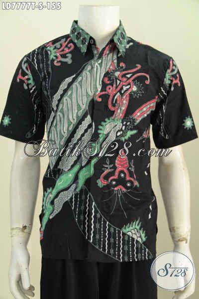 Baju Hem Modis Dasar Hitam, Pakaian Batik Lengan Pendek Trend Motif Terkini Proses Tulis Harga 100 Ribuan [LD7777T-S]