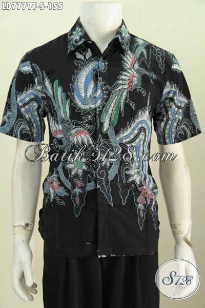 Hem Batik Jawa Tengah Khas Solo, Baju Batik Tulis Harga 100 Ribuan Kwalitas Istimewa Model Lengan Pendek Bisa Untuk Seragam Kerja [LD7779T-S]