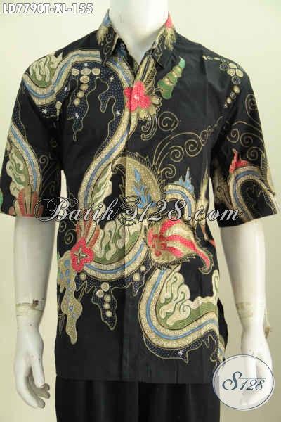 Kemeja Batik Ukuran XL, Hem Batik Keren Buatan Solo Model Lengan Pendek Motif Bagus, Bisa Untuk Ke Kantor Dan Kondangan [LD7790T-XL]