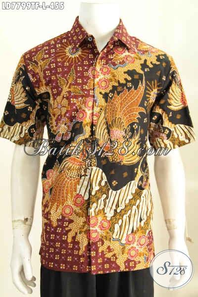 Baju Hem Batik Premium 400 Ribuan, Baju Batik Solo Lengan Pendek Spesial Untuk Lelaki Kantoran, Daleman Pakai Furing Lebih Mewah [LD7799TF-L]