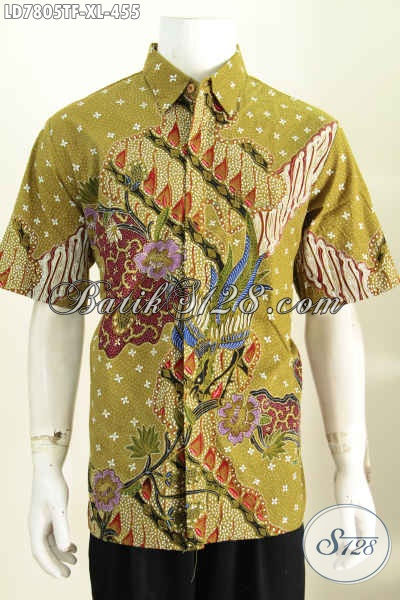 Pusat Online Fashion Batik Solo, Jual Kemeja Lengan Pendek Ukruan Ukuran XL Bahan Halus Motif Mewah proses Tulis Daleman Pakain Furing 455K [LD7805TF-XL]