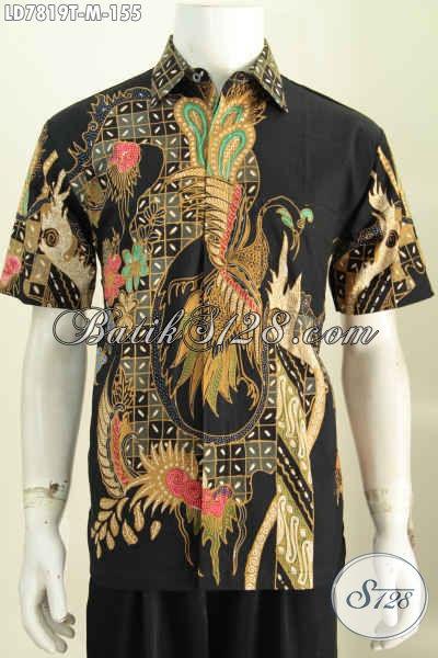 Busana Batik Lengan Pendek Halus Kwalitas Istimewa, Pakaian Batik Solo Motif Bagus Proses Tulis Buat Lelaki Terlihat Modis [LD7819T-M]