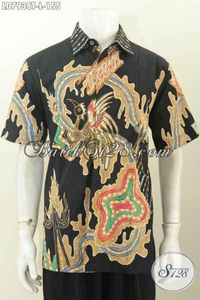 Jual Kemeja Batik Seragam Kerja Lengan Pendek Motif Terkini, Pakaian Batik Solo Halus Proses Tulis Bahan Adem Nyaman Di Pakai [LD7938T-L]