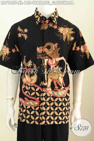 Sedia Kemeja Batik Wayang Motif Gatotkaca, Baju Batik Cowok Dewasa Bahan Halus Proses Tulis Hanya 155K [LD7965T-XL]