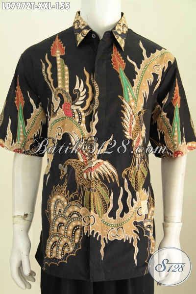 Jual Online Pakaian Batik Nan Modis, Busana Batik Solo Halus Lengan Pendek Ukuran Jumbo Untuk Pria Gemuk Terlihat Gagah [LD7972T-XXL]