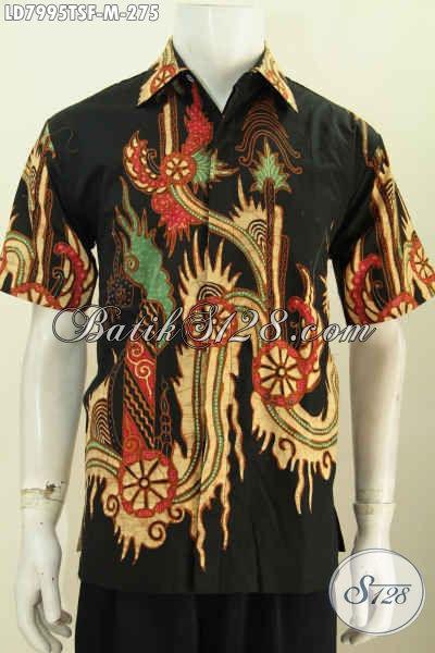 Baju Hem Batik Solo Kwalitas Premium, Pakaian Batik Lengan Pendek Pakai Furing Bahan Halus Untuk Kerja Kantoran [LD7995TSF-M]