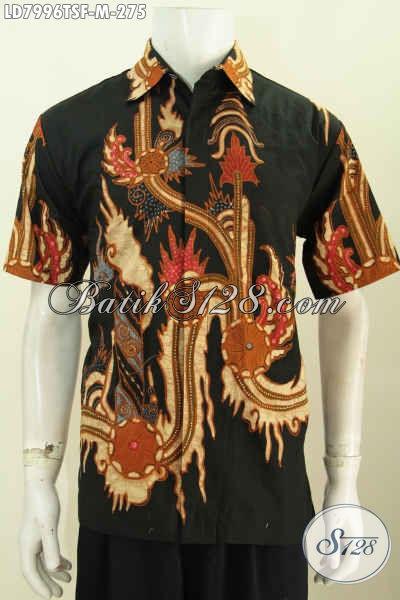 Baju Hem Batik Lengan Pendek Istimewa, Busana Batik Mewah Halus Full Furing Motif Terkini Tulis Soga Hanya 270 Ribuan [LD7996TSF-M]