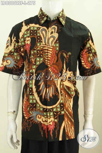 Baju Kemeja Batik Lengan Pendek Motif Terkini Proses Tulis Soga, Pakaian Batik Seragam Kerja Premium Lengan Pendek Full Furing Tampil Makin Gagah [LD8000TSF-L]