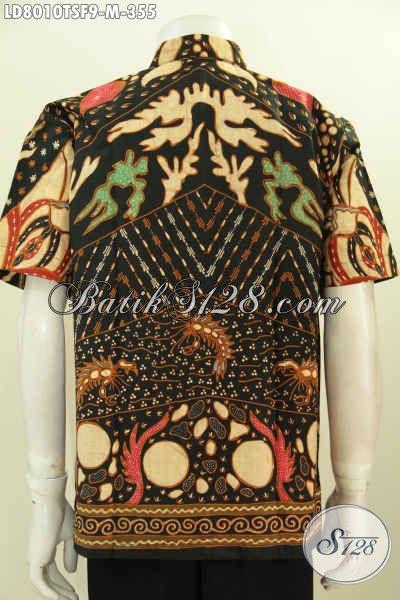 Jual Baju Batik Berkelas, Busana Batik Pria Premium Lengan Pendek Harga 300 Ribuan Bahan Halus Motif Unik Tulis Soga Pakai Furing [LD8010TSF-M]