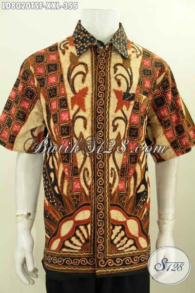 Baju Hem Batik Jumbo Istimewa, Pakaian Batik Pria Gemuk Lengan Pendek Full Furing Berkelas Motif Unik Proses Tulis Soga Hanya 350 Ribuan [LD8020TSF-XXL]