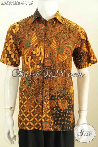 Hem Batik Klasik Lengan Pendek Untuk Lelaki Muda Dan Remaja Pria, Baju Batik Halus Kombinasi Tulis Hanya 145K [LD8078BT-S]