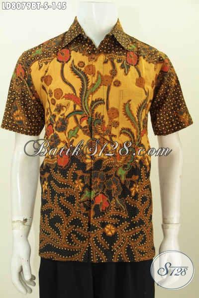 Hem Batik Bagus Model Lengan Pendek, Baju Batik Kerja Pria Muda Kwalitas Bagus Hanya 145K Proses Kombinasi Tulis [LD8079BT-S]