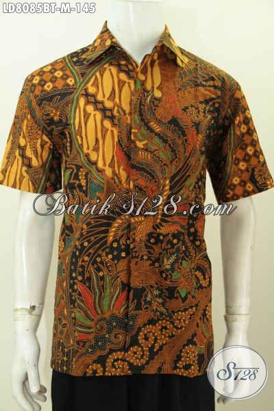 Batik Hem Lengan Pendek Pria, Baju Batik Solo Halus Motif Mewah Kombinasi Tulis, Pakaian Batik Berkelas Hanya 100 Ribuan [LD8085BT-M]