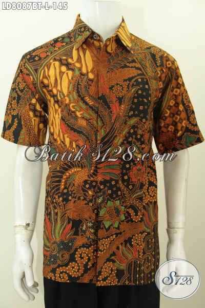 Baju Kemeja Batik Solo Seragam Kerja Pria Modern Untuk Penampilan Lebih Berkelas, Baju Batik Klasik Kombinasi Tulis Lengan Pendek Harga 145K [LD8087BT-L]