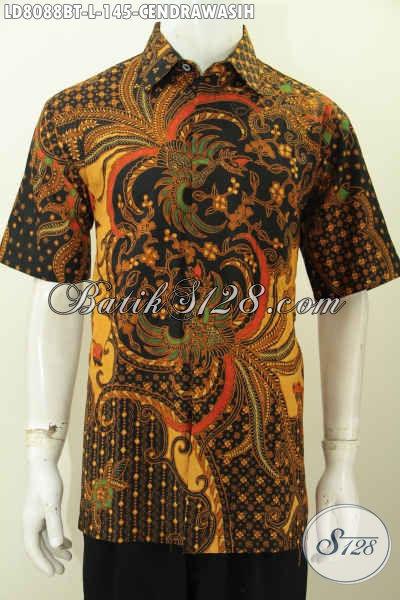 Hem Batik ELegan Motif Burung Cendrawasih, Pakaian Batik Lengan Pendek Buatan Solo Proses Kombinasi Tulis Harga 100 Ribuan [LD8088BT-L]