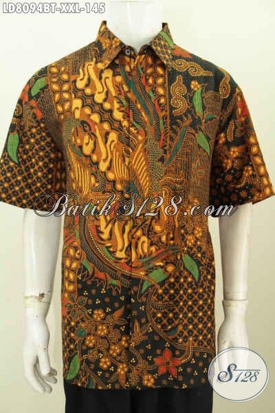Jual Pakaian Batik Lelaki Gemuk, Baju Batik Jumbo 3L Bahan Halus Motif Mewah Kombinasi Tulis Lengan Pendek Hanya 145K [LD8094BT-XXL]