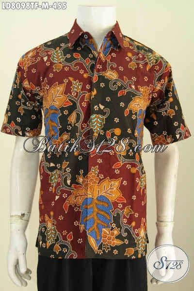 Kemeja Batik Halus Motif Terkini Bahan Adem Proses Tulis Model Lengan Pendek Pake Furing Tampil Menawan [LD8098TF-M]