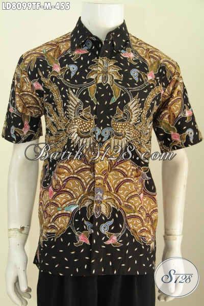 Jual Baju Batik Tulis Untuk Pria, Pakaian Batik Premium Lengan Pendek Full Furing Buatan Solo Asli 400 Ribuan [LD8099TF-M]