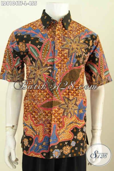 Jual Online Hem Batik Motif Mewah Terkini, Baju Batik Kerja ELegan Berkelas Proses Tulis Model Lengan Pendek Pake Furing Hanya 400 Ribuan [LD8104TF-L]