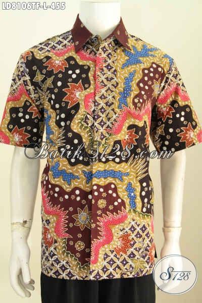 Agen Baju Batik Online Terlengkap, Jual Kemeja Cowok Lengan Pendek Full Furing Bahan Halus Motif Mewah Tulis Asli 455K [LD8106TF-L]