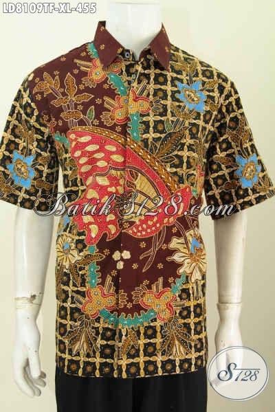 Baju Kemeja Batik Istimewa Untuk Tampil Beda Dan Berkelas, Busana Batik Lengan Pendek Full Furing Proses Tulis Harga 400 Ribuan [LD8109TF-XL]