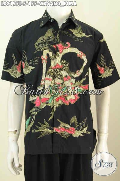 Hem Batik Tulis Motif Wayang Bima, Kemeja Batik Lengan Pendek Dasar Hitam Elegan Harga 155K Proses Tulis [LD8125T-S]