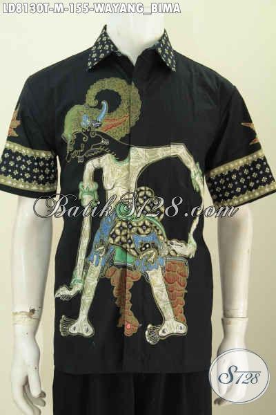 Hem Batik Wayang Lengan Pendek, Baju Batik Elegan Hitam Motif Bima Proses Tulis Cuman 150 Ribuan [LD8130T-M]
