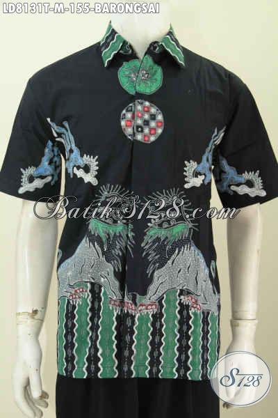 Baju Batik Keren Motif Barongsai, Pakaian Batik Solo Halus Proses Tulis Lengan Pendek Modis Untuk Jalan-Jalan Dan Seragam Kerja Tampil Menawan [LD8131T-M]