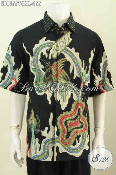 Koleksi Terkini Pakaian Batik Cowok Gemuk, Baju Batik Tulis Lengan Pendek Motif Keren Bahan Halus Hanya 155K [LD8155T-XXL]