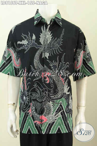 Baju Batik Motif Naga Keren Dan Halus, Busana Batik Istimewa Trendy Buatan Solo Proses Tulis Spesial Untuk Lelaki Dewasa Tampil Bergaya [LD8156T-XXL]