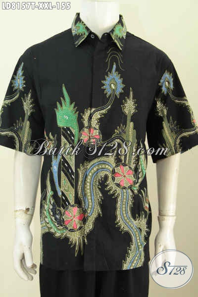 Baju Kemeja Batik Solo Motif Keren Dasar Hitam, Baju Batik Kwalitas Istimewa Proses Tulis Untuk Cowok Gemuk Terlihat Menawann [LD8157T-XXL]