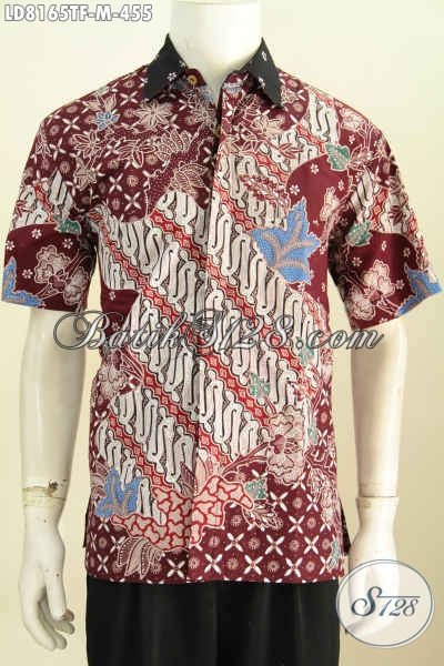 Baju Batik Merah Motif Elegan, Busana Batik Berkelas Cocok Untuk Kerja Dan Acara Formal Lengan Pendekk Full Furing Hanya 400 Ribuan [LD8165TF-M]