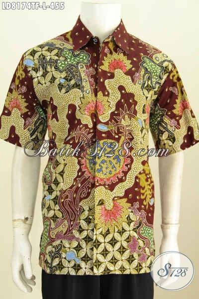 Toko Online Baju Batik Jawa Tengah, Sedia Hem Lengan Pendek Motif Mewah Kwalitas Premium Full Furing Proses Tulis harga 455 Ribu [LD8174TF-L]