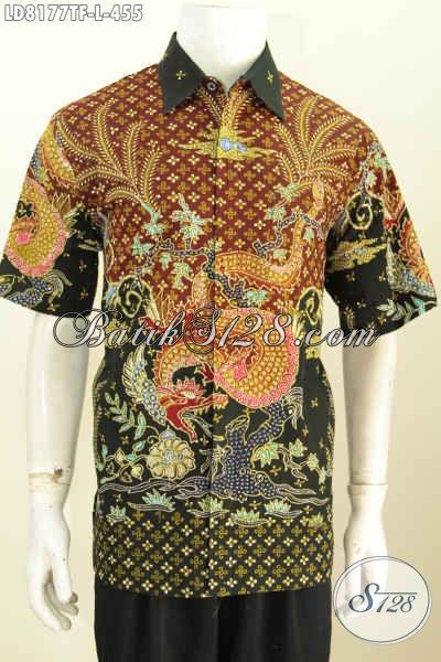 Baju Kemeja Batik Solo Premium Lengan Pendek Full Furing, Hem Batik Halus Istimewa Proses Tulis Untuk Penampilan Lebih Istimewa [LD8177TF-L]