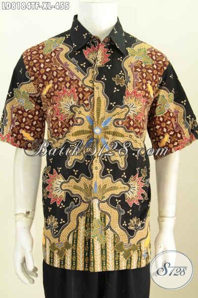 Batik Solo Lengan Pendek Untuk Pria Dewasa, Baju Batik Halus Full Furing Kwalitas Istimewa Harga 455K Motif Tulis Asli [LD8184TF-XL]