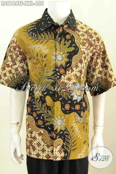 Baju Batik Terbaru Buatan Solo, Hem Batik Istimewa Size XXL Spesial Untuk Lelaki Gemuk Model Lengan Pendek Bahan Adem Full Furing Harga 455K Proses Tulis [LD8186TF-XXL]