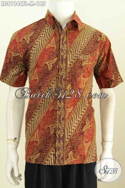 Baju Batik Solo Lengan Pendek, Hem Batik Halus Kwalitas Bagus Proses Cap Tulis Lasem Yang Bikin Penampilan Lebih Ganteng Maksimal [LD8194CTL-M]